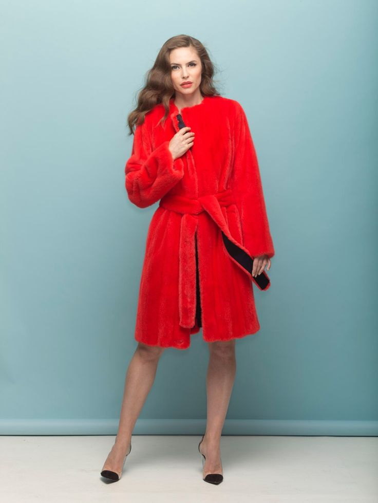 Coral dyed mink coat