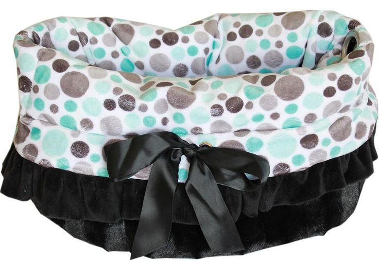 Aqua Party Dots Reversible Snuggle Bugs Pet Bed, Bag, and Car Seat All-in-One