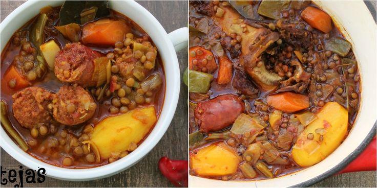 Lentejas con chorizo cocinadas en una cocotte