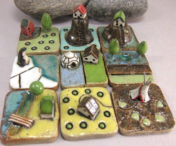 tiny ceramic landscapes by Szilvia Vihriälä Very cute!
