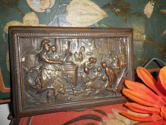 Brass Bronze Plaque  Low Relief  Sculpture  /  Classic Roman