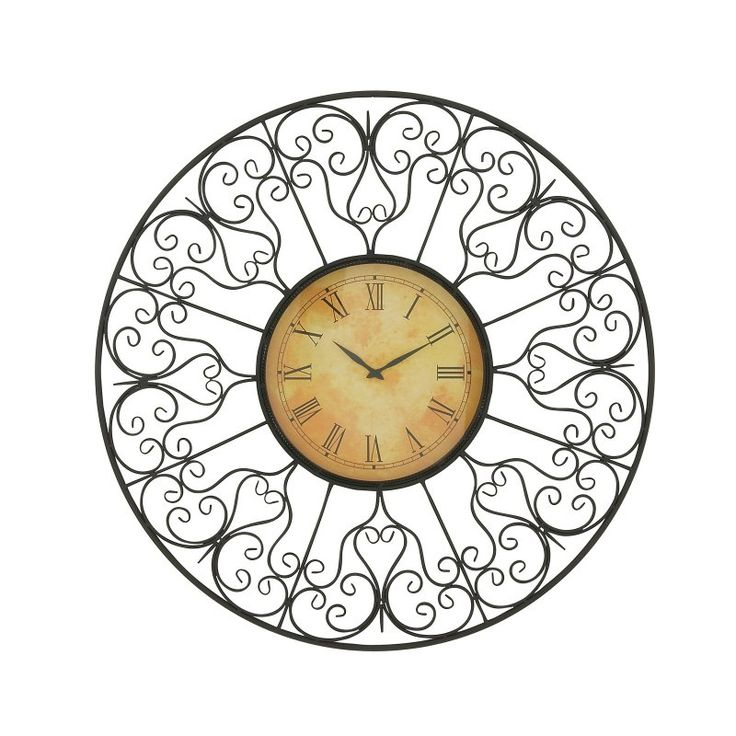 DecMode Round Metal Scrollwork Outdoor Wall Clock - 50349
