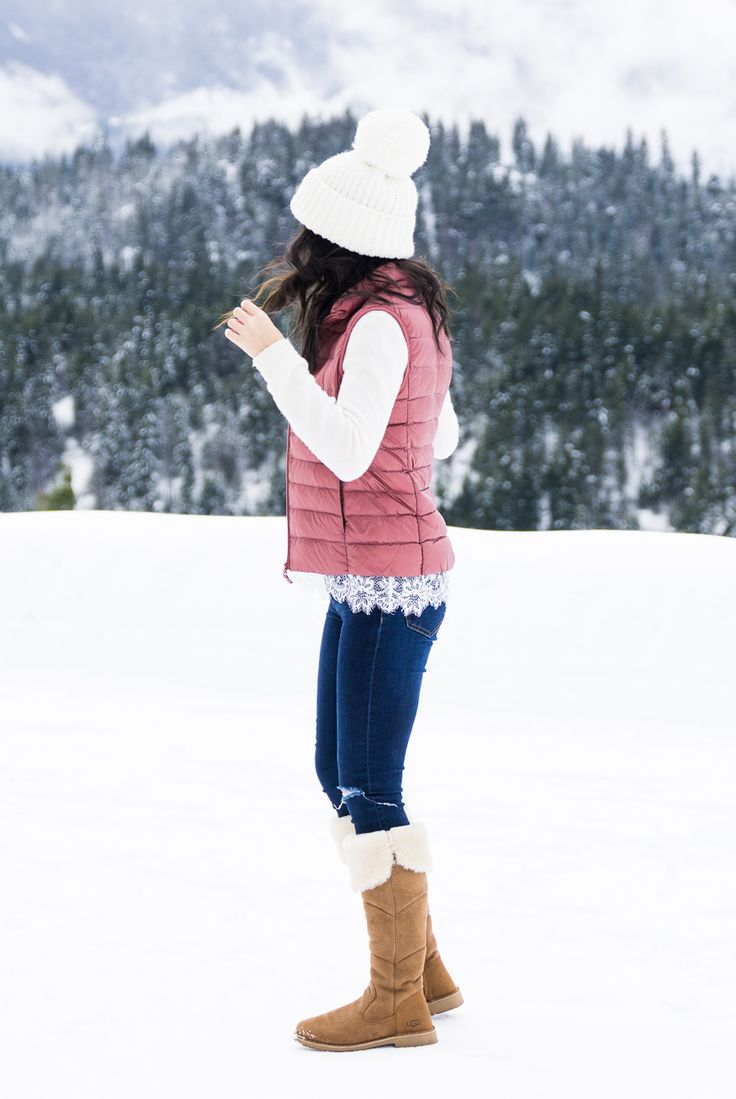 Cute winter outfit, Uniqlo womens puffer vest, pom pom beanie, UGG boots outfit, petite fashion blog