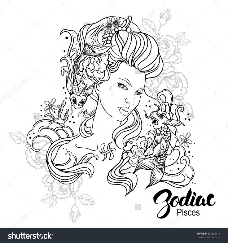 Zodiac Pisces Girl Coloring Page Shutterstock 325965011