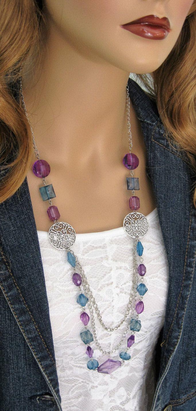 Lungo blu e viola collane di perline collane di perline