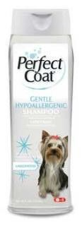 8in1 Hypoallergenic Shampoo 16 oz. Specially formulated for sensitive skin. Very mild formula ideal for dogs with skin sensitive to standard detergent shampoos, perfumes, or dyes. Allergy sufferers will also benefit from the exceptionally mild formula with Aloe Vera. Gentle cleansing action produces a clean, fresh coat. No added dyes or fragrances.