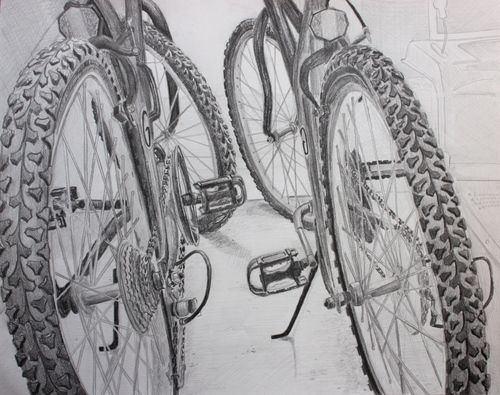 """OBSERVATIONAL DRAWING: Bicycles. For years RISD made a drawing of a bicycle a requirement for admission. Whatever school you are considering applying to, bicycles make really interesting subjects. Remember not to """"float"""" your bike in the middle of a blank paper. Prop it up against a wall or bike rack to give the image a ground. In this example, TWO bikes provide a background for each other."""
