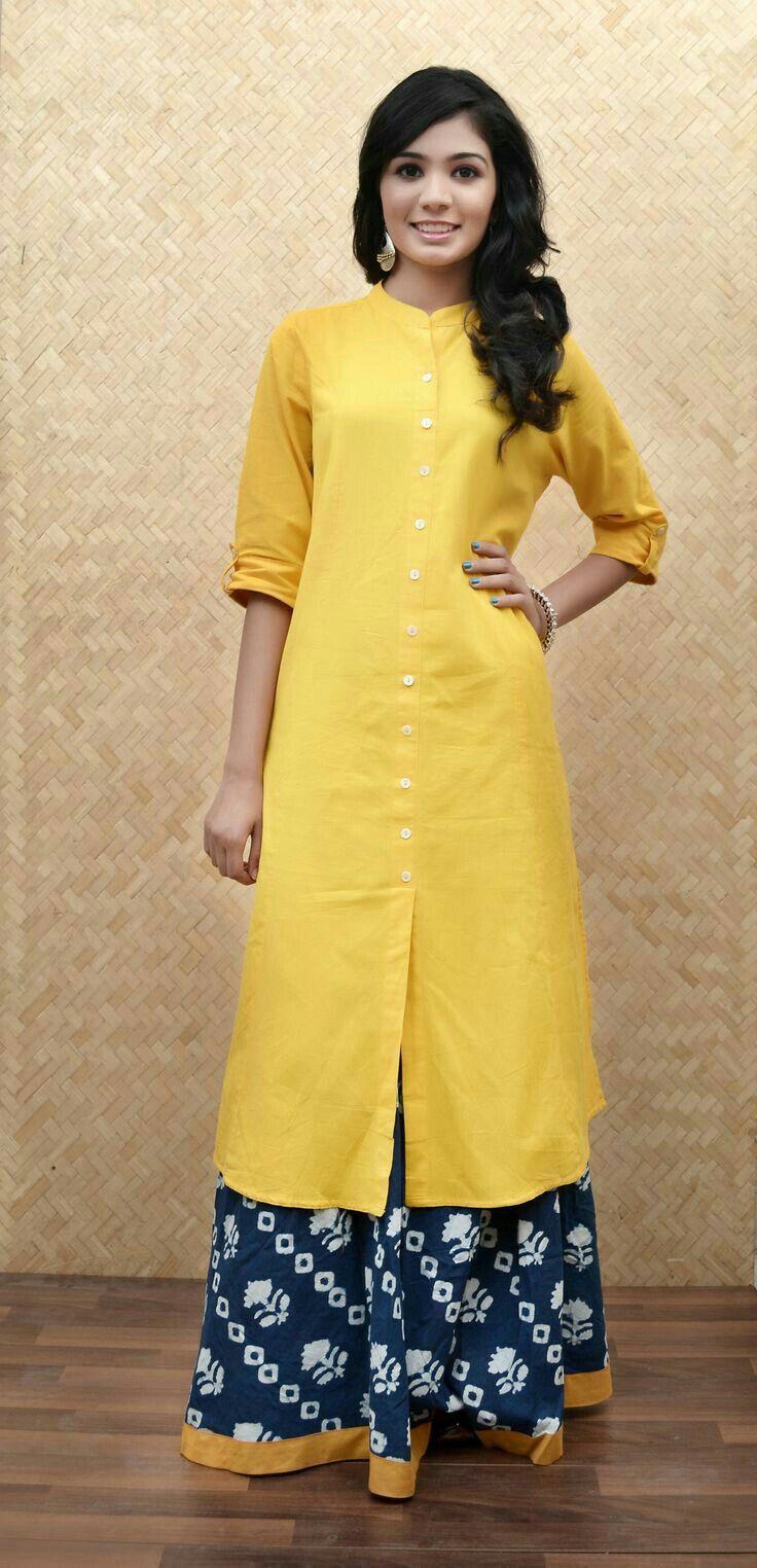 Stand Collar Neck Designs For Salwar Kameez : Lemon yellow kurti neck design fashion indian