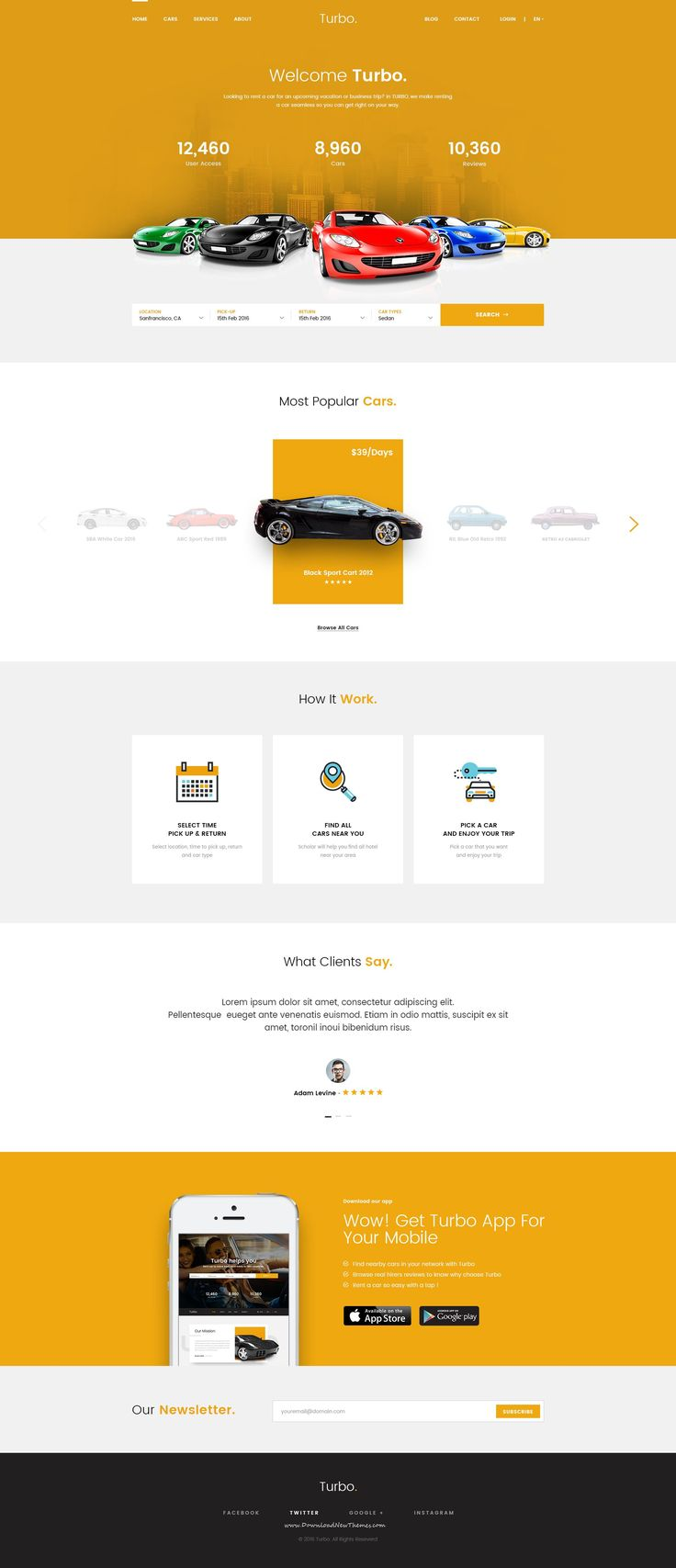 Turbo car rental psd template