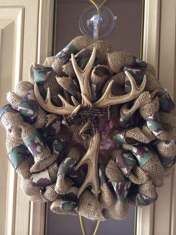 Camo and burlap antler cross wreath by Forthedoorandmore on Etsy