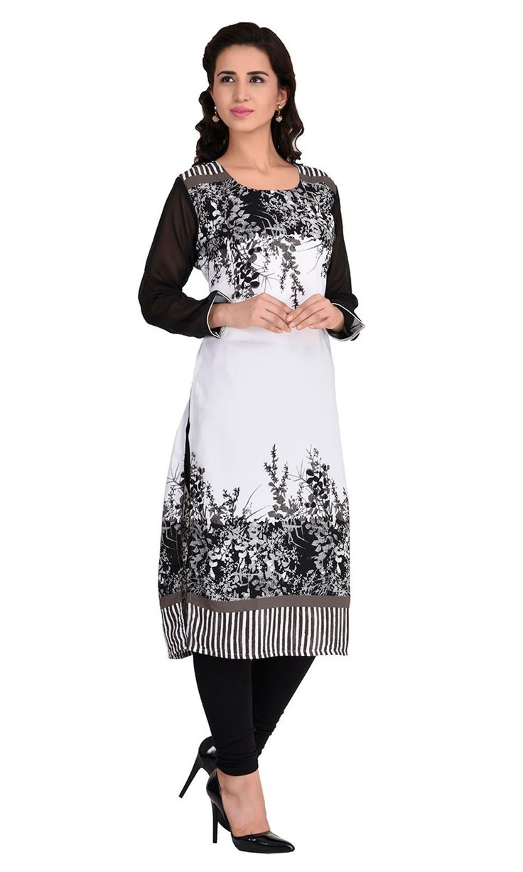 Shop this exclsuive casual wear Black and OffWhite Digital Print Faux Georgette…