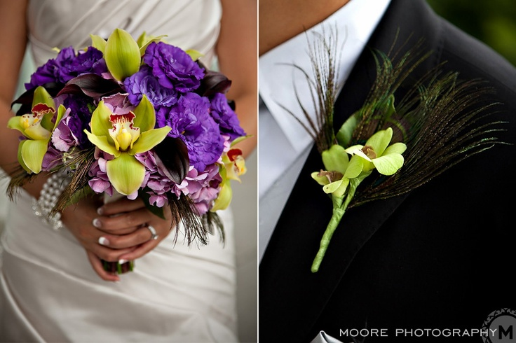 Hydrangea, lisianthus, orchids and mini calla lilies.  Photo by @Curtis Moore