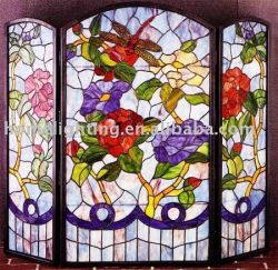 Stained Glass Fireplace Screens TFS-40342