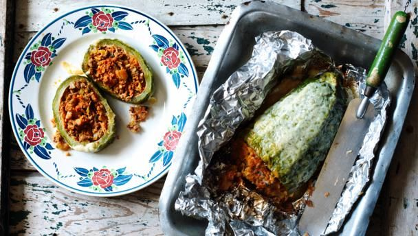 Stuffed marrow |      Marrow stuffed with a beef mince based sauce and topped with golden, bubbling cheese. A good recipe if you have a glut of marrows.