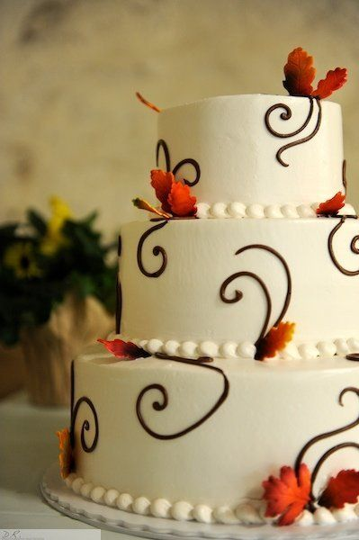 Fall Modern Shabby Chic Brown Orange Round Wedding Cakes Photos & Pictures - WeddingWire.com