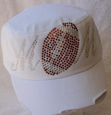 New Football *Bling* White CADET CAP with Rhinestones - Football MOM