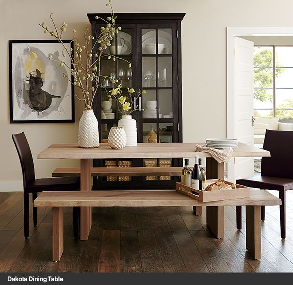Love The Mix Of Unfinished Wood Black And White Art Accessories With A Hint Dining Table