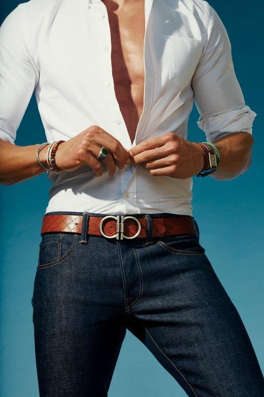 Belt by Salvatore Ferragamo. Shirt, Saturdays NYC. Jeans Fabric-Brand & Co…