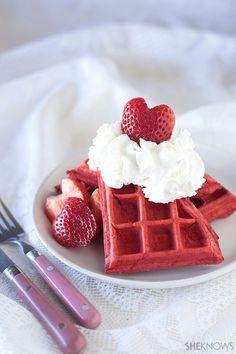Pretty in pink strawberry waffles for breakfast in bed! Follow us at www.birdaria.com. love it, like it, pin it!!