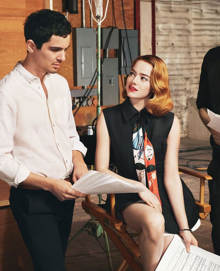 "From the Top - ""The reason I wanted to do it was because Damien was so passionate,"" Stone says of La La Land, and its director, Damien Chazelle, pictured here. Dior sleeveless jacket and shorts."