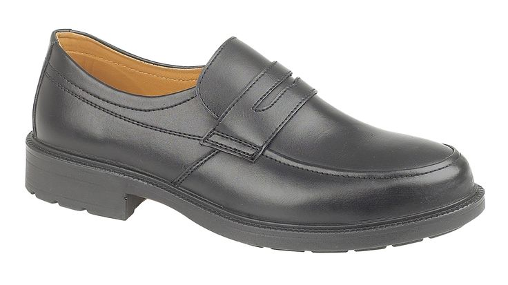 Amblers Safety FS46. Smart safety shoes for men ideal for industrial office use.  Slip-on mono-black style with smooth leather upper.  Features protective steel toe cap. For more information and safety a safety specification sheet on FS46 visit http://www.amblerssafety.com/shoe/fs46/
