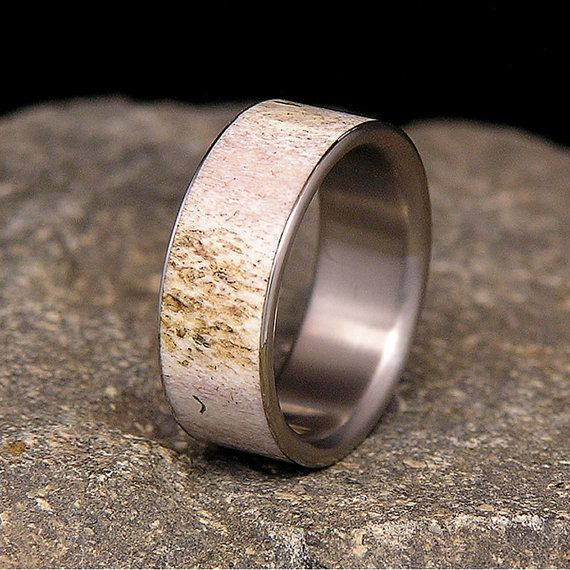 Titanium Deer Antler Wedding Band or Ring by HolzRingShop on Etsy, $100.00