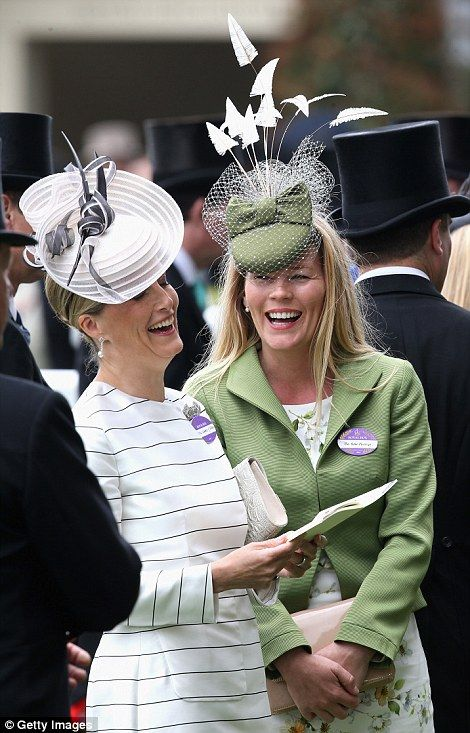 dailymail: Royal Ascot 2015, Day 2, June 17, 2015-Countess of Wessex and Autumn Phillips enjoying a laugh