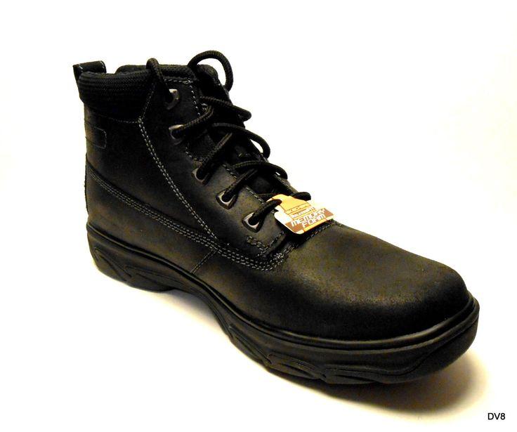 Mens SKECHERS Leather Boots Relaxed Fit Memory Foam Resiment Rialto Black NIB   eBay
