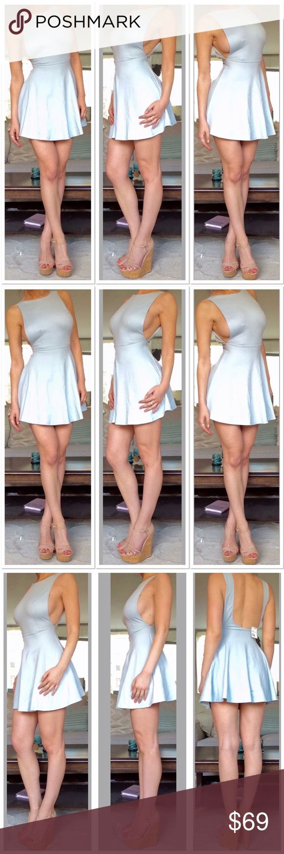 American Apparel Sky Blue Skater Dress Discontinued 😣mix-weight Stretch jersey with low armholes. Super sexy! American Apparel Dresses Mini