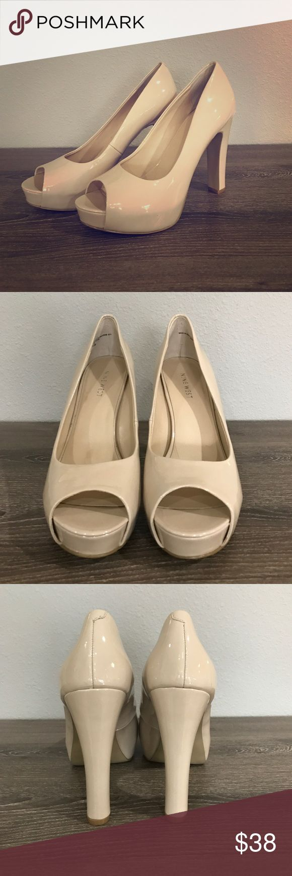 Nude Peep Toe Platform Pumps These shoes are like new! Been worn once and have no scuffs! Patent leather body. Nine West Shoes Heels