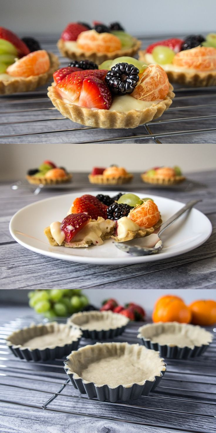 Fuit tartlets on shortcrust pastry filled with creme patissiere and topped with fresh fruits.