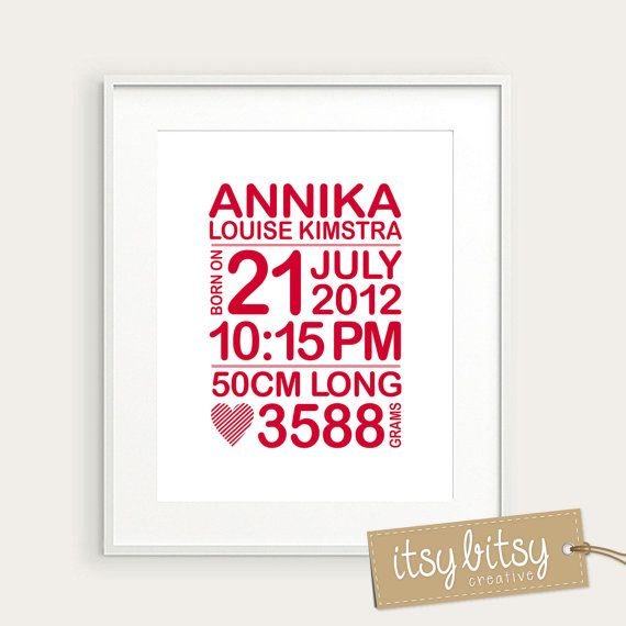 Personalized birth print baby name art birth by ItsyBitsyCreative, $25.00