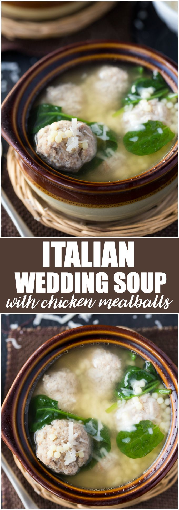Italian Wedding Soup with Chicken Meatballs - A bowl of comfort food! This easy soup is perfect to enjoy on a cold winter's day.