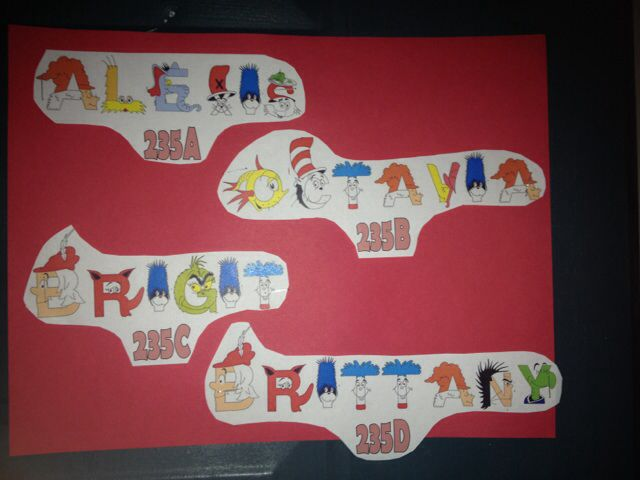 Resident Assistant door decs with a Dr. Seuss theme. Bethany College, West Virginia via Jesse Penatzer Sophomore RA 2014