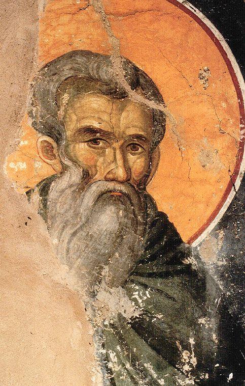 Όσιος Θεόκτιστος (= Θείο δημιούργημα), συνασκητής του Μεγάλου Ευθυμίου. Orthodox Saint Theoktistos (i.e. God's creation), eremite together with Saint Efthymios. Feast Day: 3rd September.