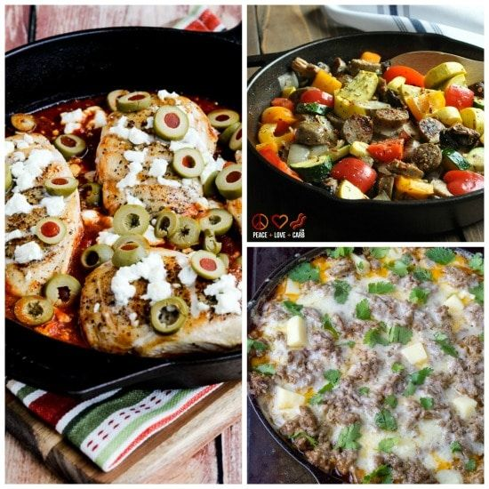 Every Friday we spotlight low-carb recipes you might want to try over the weekend, and this Friday I'm sharingTen Low-Carb Skillet Meals! And doesn't everyone love a meal that cooks in one pan? Click here to PIN Ten Low-Carb Skillet Meals! I'm a huge fan of cast iron skillets, which are inexpensive, literally last forever, …