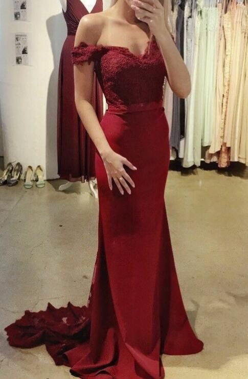 4e43b8925cb6 Beautiful Wine Red Off Shoulder Mermaid Gowns, Burgundy Party Dress, Prom  Dress 2018