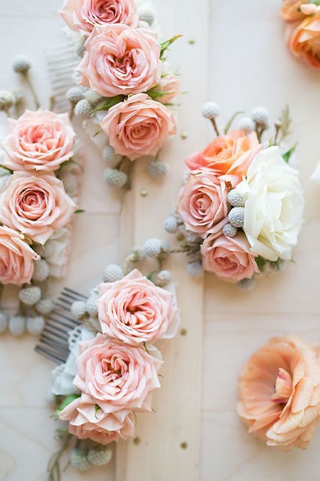 Deck out plain combs with flowers—so pretty!