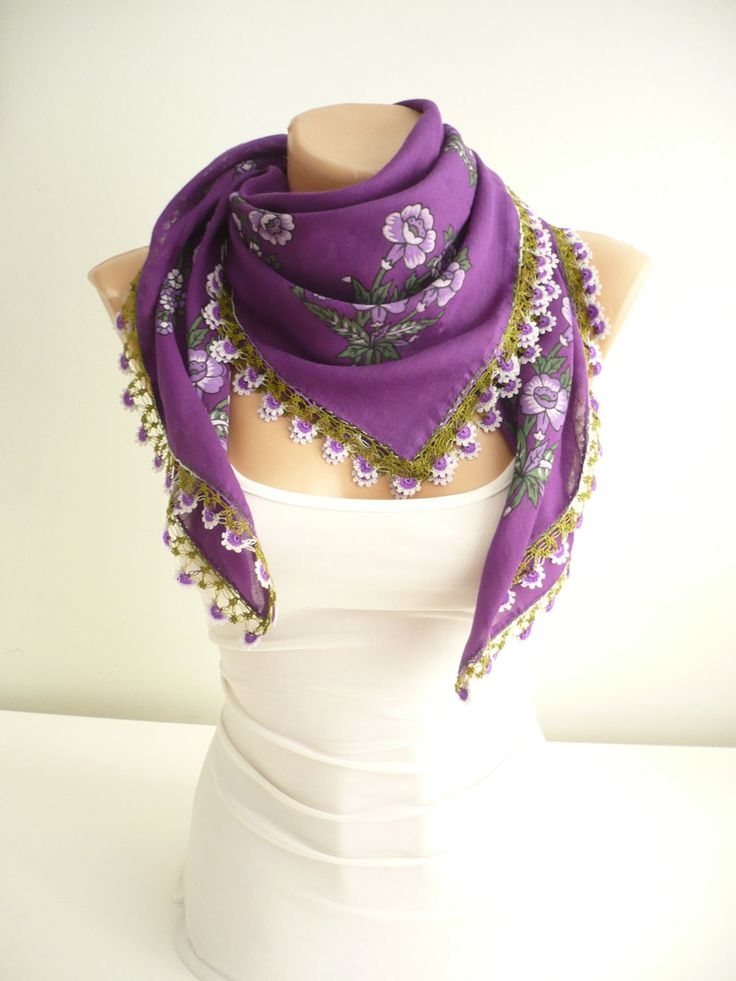 Turkish scarf with lace / floral printed purple scarf / Traditonal art: oya /  organic cotton vintage foulard / unique gift / free shipping by TurkishAccessories on Etsy