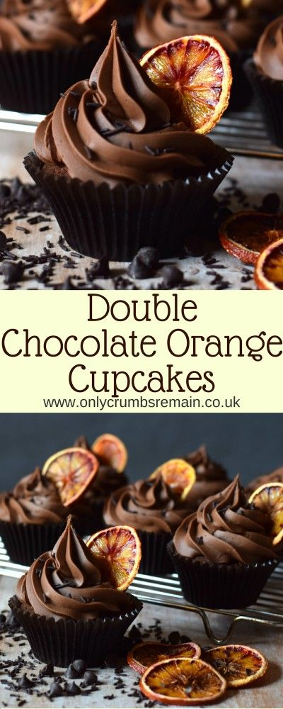 How to make Double Chocolate Orange Cupcakes containing real chocolate in both the cake batter and chocolate buttercream frosting. The cupcakes are finished with an oven dried slice of orange.ice