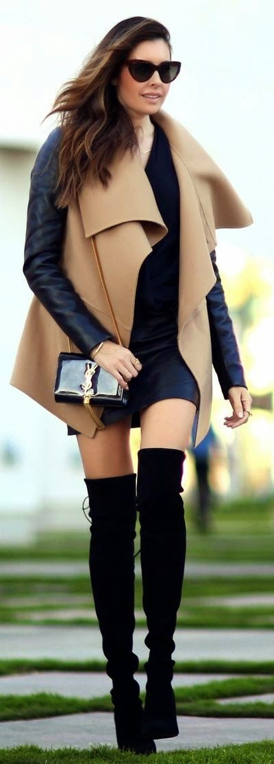 Women's fashion | Wrap coat and over the knee boots