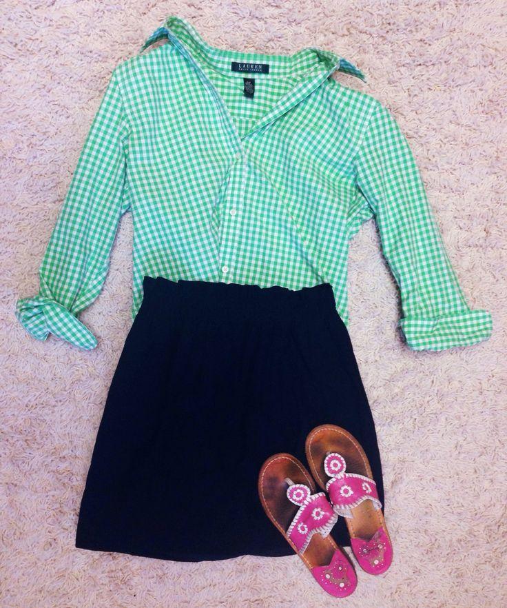 Outfit idea   Button down- Ralph Lauren Skirt (navy)- Jcrew  Sandals- jack rogers