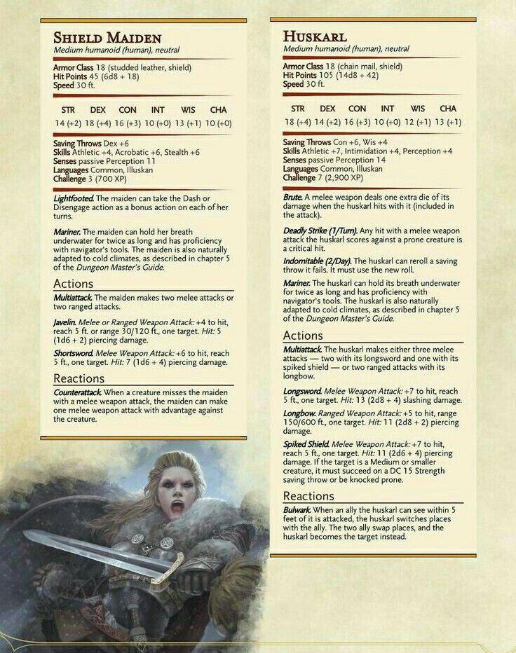 Viking style NPCs: Shieldmaiden (CR 3) & Huskarl (CR 7) – DnD 5e
