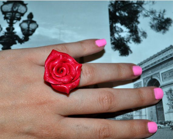 handmade red rose ring