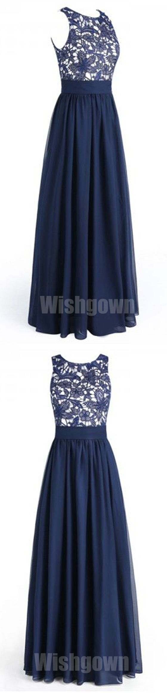 Navy Blue Lace Top Chiffon Elegant Cheap Floor Length Wedding Bridesmaid Dresses, WG455 #bridesmaids #weddingpartydress