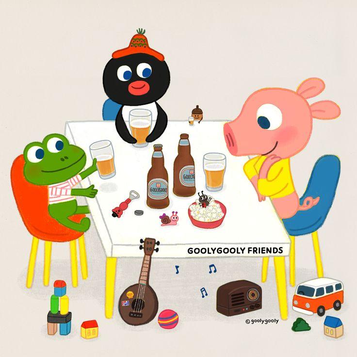 킹스오브컨비니언스의 어코스틱 선율과 보리향 가득한 맥주 그리고 언제 만나도 즐거운 친구들.. 고단하고 여유없는 일상에도 작은 여백하나쯤은 비워두자.. - 맥주맛을 알아버린 데이지와 친구들.. 그림책 주인공들인데...  goolygooly www.goolygooly.com