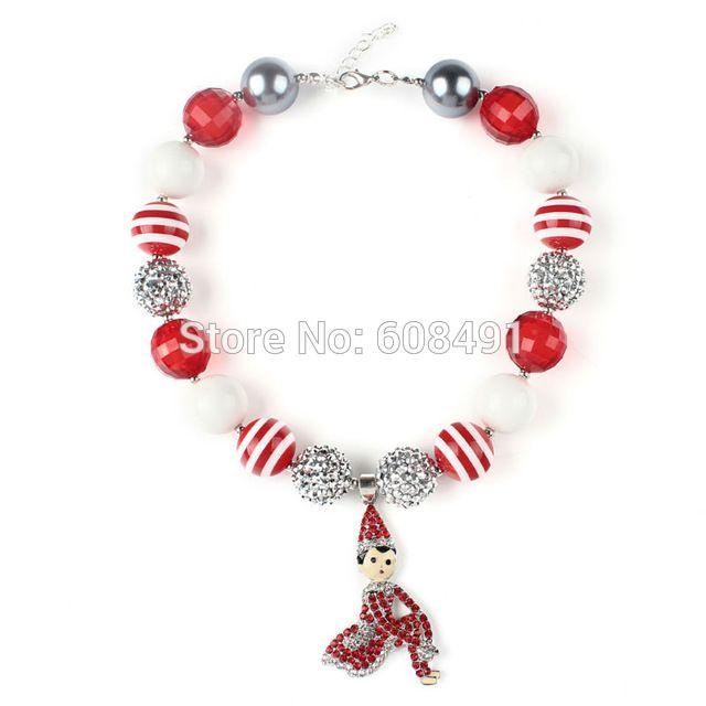 Duende de la navidad Colgante de Joyería Para Niños Niñas se Visten Collar Bubblegum grueso Collar de Cuentas Blancas de Navidad Rojo 1 UNID