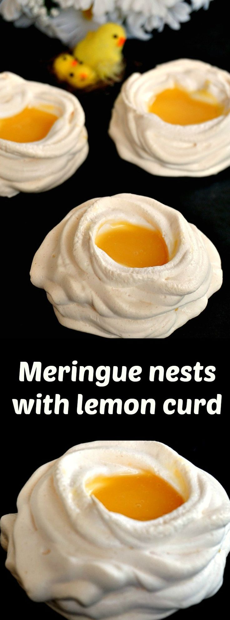 Meringue nests with lemon curd, a fantastic treat for your Easter dessert menu. Nothing beats a homemade lemon curd and some scrumptious meringue nests that are crunchy on the outside, but soft and chewy on the inside. The two together make one happy marriage, and you won't be able to have one portion only!