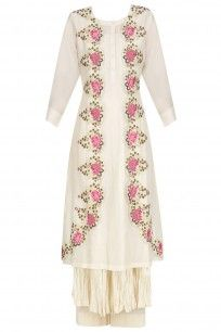 Ivory Floral Parsi Embroidered Kurta, Anarkali and Palazzo Pants Set #pramabypratimapandey #shopnow #ppus #Happyshopping