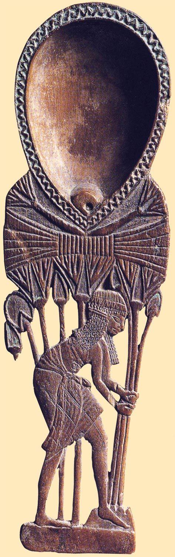 Cuchara de la niña recogiendo flores de loto. Imperio Nuevo. Museo del Louvre, París.